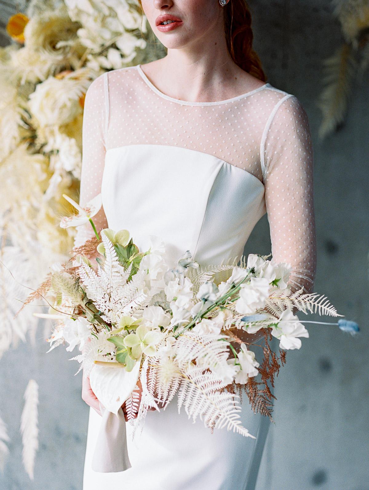 Close up shot of Oregon Brides wedding Bouquet by Wildflower Portland florist
