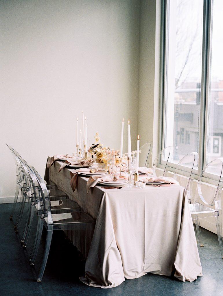 Wedding Table styled by Indigo Event Designs in Portland Oregon for Industrial Bridal editorial