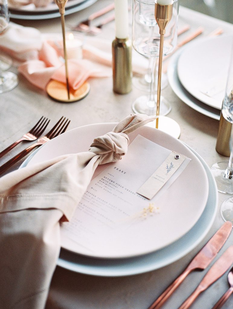 Close up shot of the table settings for this winter wedding at Jupiter Hotel in Portland Oregon